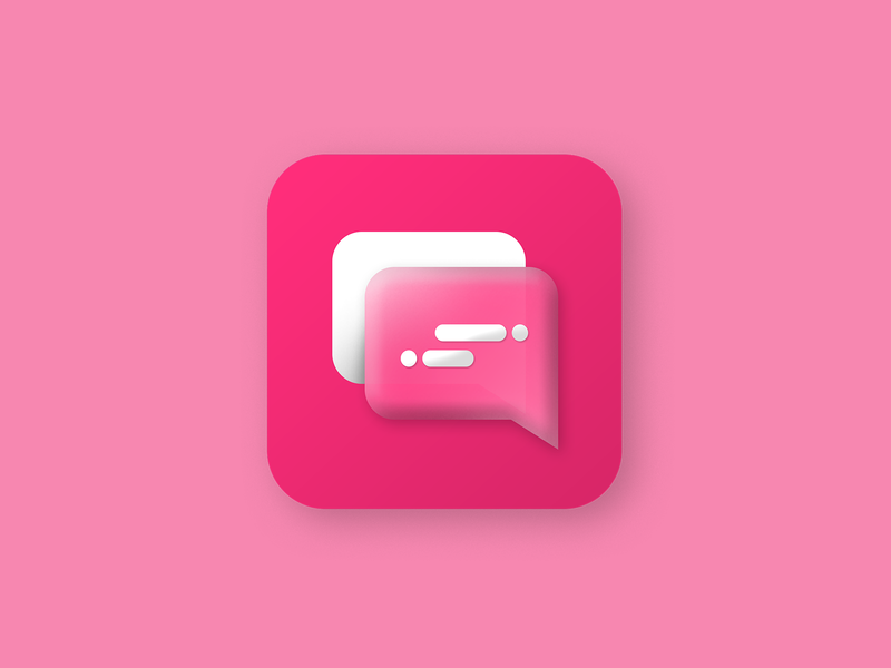 Skeumorphism Chat Icon logo vector design illustration flat clean iconography skeumorphism icon