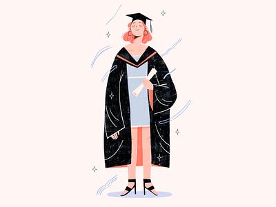 I Graduated! texture illustration illustration art graduation illustration illustrator digital illustration editorial illustration graduation character design
