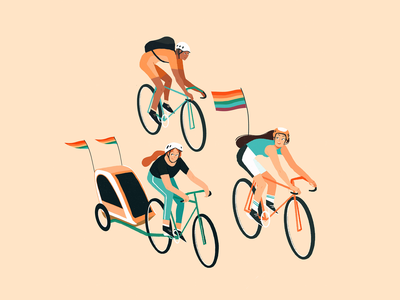 Pride Illustration kidlit childrens book illustration illustration art character design lgbt digital illustration illustration gay pride bike race editorial illustration
