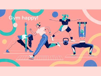 Home Workout Girls exercises tech illustration illustration art gymwear character design female workout kettlebell dumbell stretch treadmill running jogging workout home workout gym yoga weight lifting exercise illustration