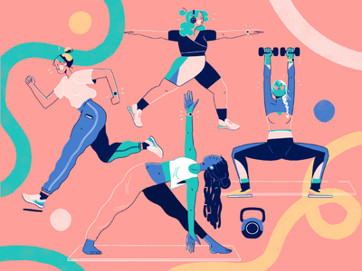 Home Workout Girls exercises tech illustration illustration art gymwear character design female workout kettlebell dumbell stretch treadmill running jogging workout home workout gym yoga weight lifting exercise illustration