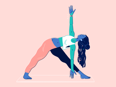 Home Yoga Workout pink and blue tech illustration gymwear gym character design home workout yoga pose yoga workout illustration