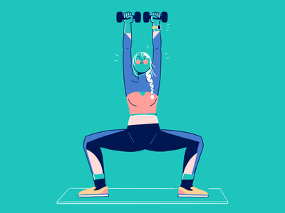 Home Dumbell Workout home workout gymwear tech illustration dumbell weight lifting gym illustration character design