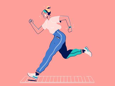 Jogging Illustration gymwear gym activewear active character design runner running jogging home workout workout tech illustration illustration editorial illustration