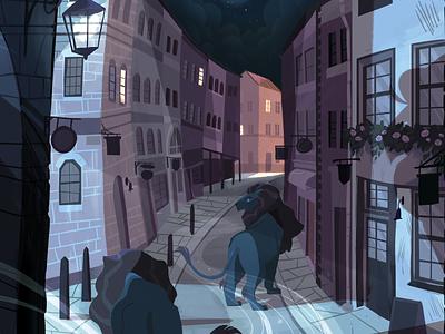 Landseer Lions editorial illustration digital illustration trafalgar square landseer lions london illustration london