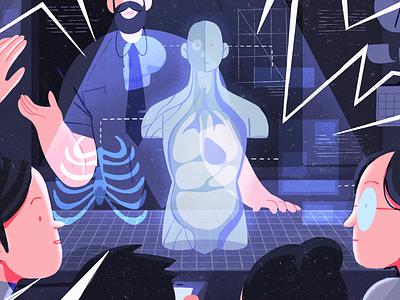 Hologram Classroom classroom futuristic illustrator illustration editorial illustration