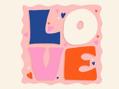 Love color palette typography lettering valentines love