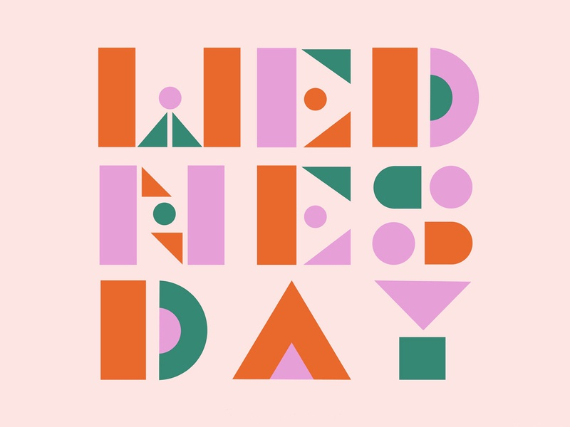 Wednesday geometric wednesday pattern illustration typography lettering design colorful color