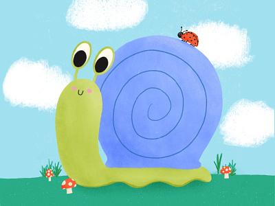 Snail buddy childrens book illustration childrens illustration cute bug bug animal cute snail character concept character illustration