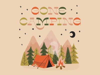 Gone Camping tent fire park typography lettering illustration camping logo hiking outdoors camping
