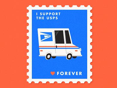 Support the USPS stamp post office usps design illustration