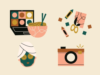Self care retreat icons camera craft zoom noodles icon style icon set icon illustration