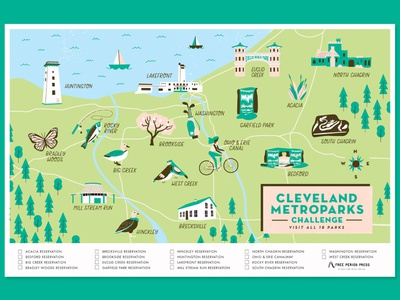 Cleveland Metroparks park cleveland map design icon set icon hand lettering cute typography illustration map