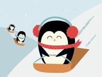 Sledding penguins