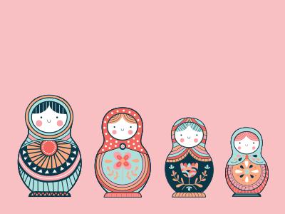 Matryoshka dolls pattern pink matryoshka doll stacking dolls dolls illustration
