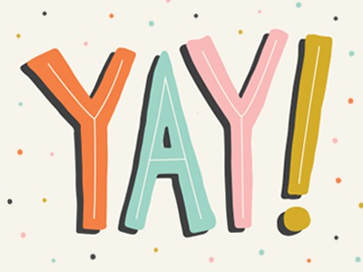Yay! illustration hand lettering cute party typography lettering yay