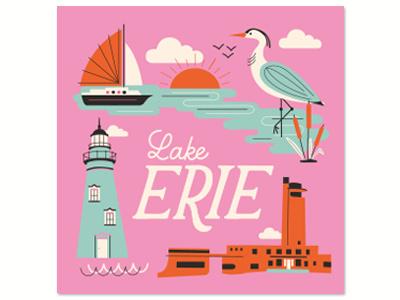 Lake Erie Print print great lakes pink illustration lettering boat lighthouse lake lake erie