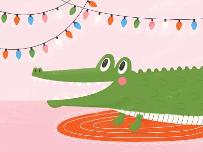 Christmas Gator cute animal cute illustration cute gator alligator holidays holiday children book illustration childrens illustration illustration