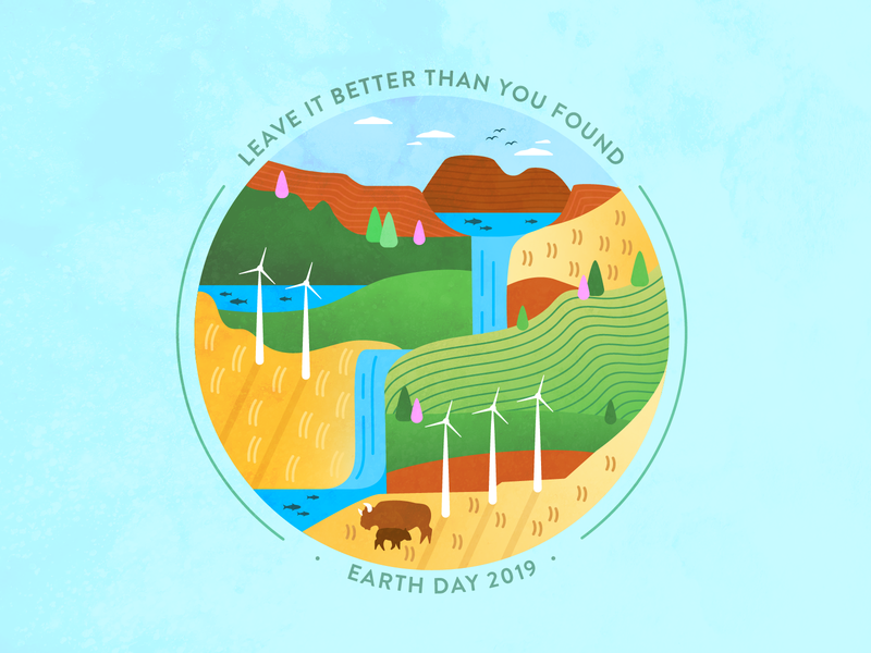 Leave it better wind turbine earth earth day oklahoma illustration vector