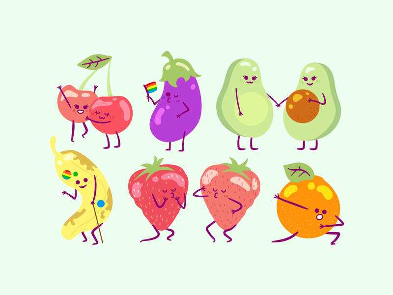 Fruity pride month rainbow vector fruit character illustration gay pride