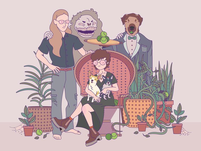 Family character dog design cute vector illustration