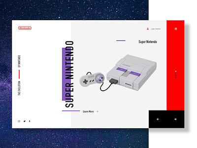 Super Nintendo (SNES) high fidelity wireframe website web design ux ui concept