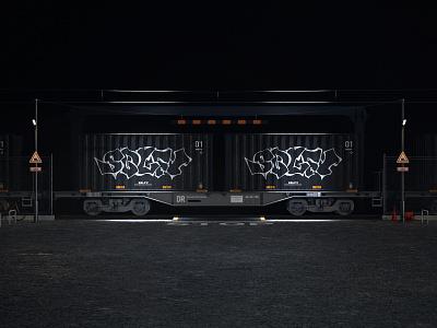 SBLFV tech machine hard surface modeling 3d moi3d train octanerender cinema4d 3d art graffiti graphic