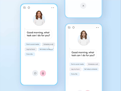 Virtual Assistant App: Voice Trigger🗣️ livestream product designer color palette blue modern freelance product design virtual assistant assistant design minimal daily ui card ux app mobile daily ui challenge