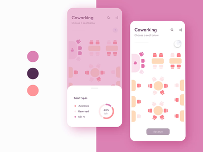 🌺Coworking App: Content Aware Layout product design seating chart seating seats pastel pink adobexd livestream dailyui daily challenge ui studio remote work freelance remote coworking space the wing thewing coworking