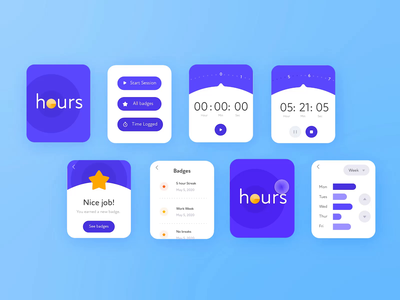 🌟Time-Tracking Smartwatch App: Polygon Tool freelance designer freelancer time tracking log hours livestream timer app watch timer timer watch app smartwatch app watch smartwatch adobexd blue minimal daily ui app daily challenge ui