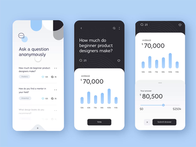 Anonymous Career Advice App: Auto-Animate Number Slider minimal cards lesson learn adobexd livestream freelance anonymous blue prototype interactive numbers scrolling slider challenge ux mobile app daily ui