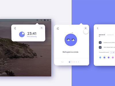 👀Eye Health Widget: Hover Trigger ui learn livestream time timer carousel blink flat freelance card purple eyeballs prototype animation desktop hover widget vision eyes eye