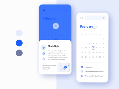 Designer Meetups App: Component States monochromatic trends new product designer phone calendar meetup palette color blue design minimal daily ui card ux mobile app daily challenge ui