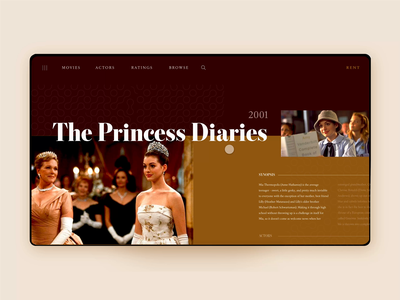 🎥Promotional Movie Page: Layouts layout design princess royal yellow red the princess diaries movie layout minimal daily ui ux mobile app daily challenge ui