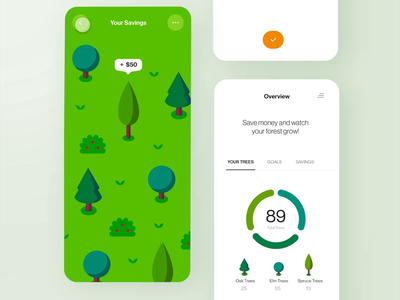 Money-Tracking App: Auto-Animate premiere auto animate prototype movie animation color palette goal bank money illustration trees product design freelance forest ux mobile app daily challenge ui