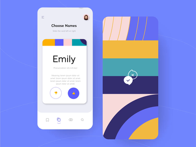 Choose a Name App: Auto-Animate name app baby name app application mobile app design purple baby name names adobexd auto animate prototype animation match swipe color colorful mobile daily challenge ui