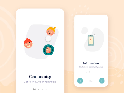 🤝Community App: Component States component library ui tutorial ui tutorial livestream pastel cute illustrations illustration onboard onboarding helping community neighborhood neighbor help prototype animation adobe xd component states