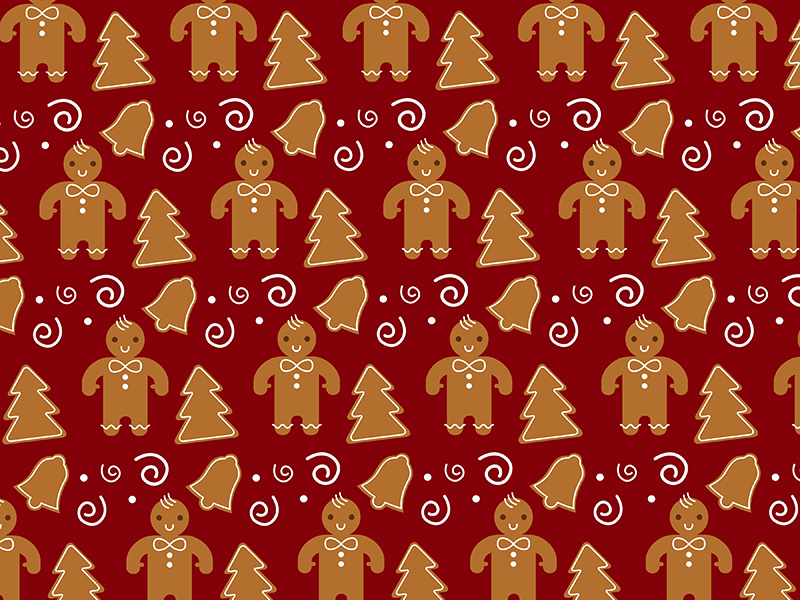 Wrapping Paper Contest- Gingerbread illustration wallpaper cookie pattern wrapping paper holiday festive christmas gingerbread