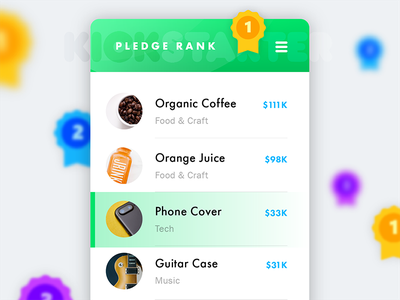 Daily Ui Challenge 019 - Leaderboard mobile card kickstarter rank leaderboard 019 daily ui challenge challenge daily ui daily