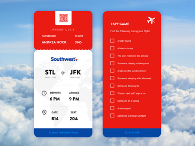 Daily UI Challenge 024 - Boarding Pass fly plane southwest card boarding pass pass ticket 024 daily ui challenge challenge daily ui daily