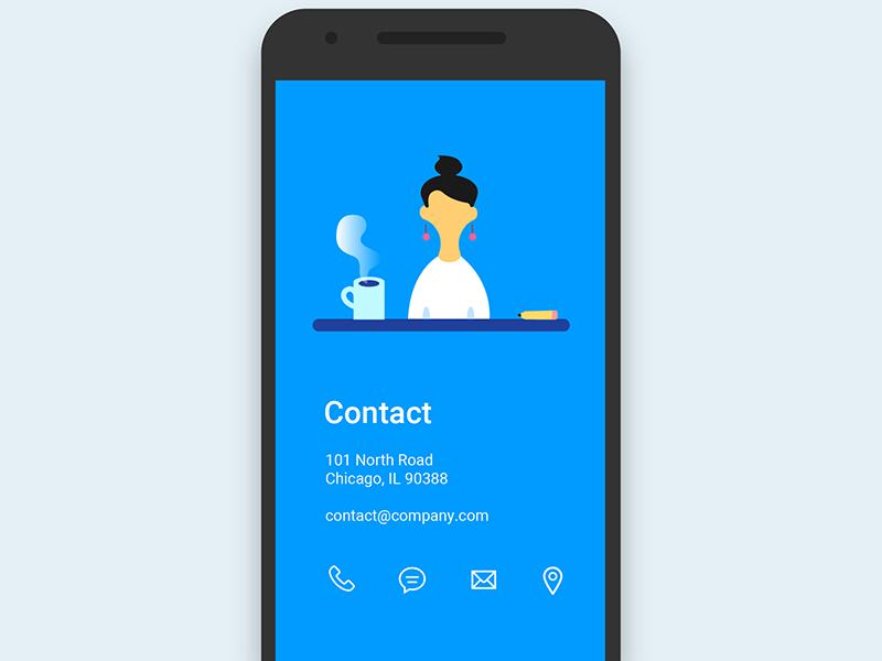 Daily Ui Challenge 028 - Contact Page pencil mug contact illustration illustration mobile contact page contact 028 challenge daily ui daily