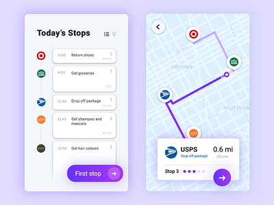 Daily Ui Challenge 029 - Map gradient card app planner calendar schedule mobile map 029 challenge daily ui daily