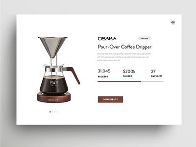 Daily Ui Challenge 032 - Crowdfunding Campaign card minimal coffee crowdfunding campaign campaign crowdfunding 032 daily ui challenge challenge daily ui daily