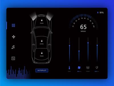Daily Ui Challenge 034 - Car Interface ui tesla dailyui cluster dashboard car ui car interface car card challenge daily ui daily
