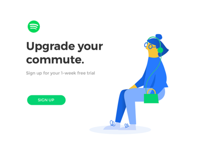 Daily Ui Challenge 036 - Special Offer music spotify 036 challenge app ui challenge daily ui woman illo character illustration