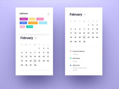 Daily Ui Challenge 038 - Calendar minimal color mobile app calendar 038 challenge daily ui daily ui