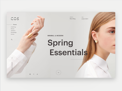Cos E-Commerce Webpage minimal ux ui homepage web spring contemporary fashion ecommerce