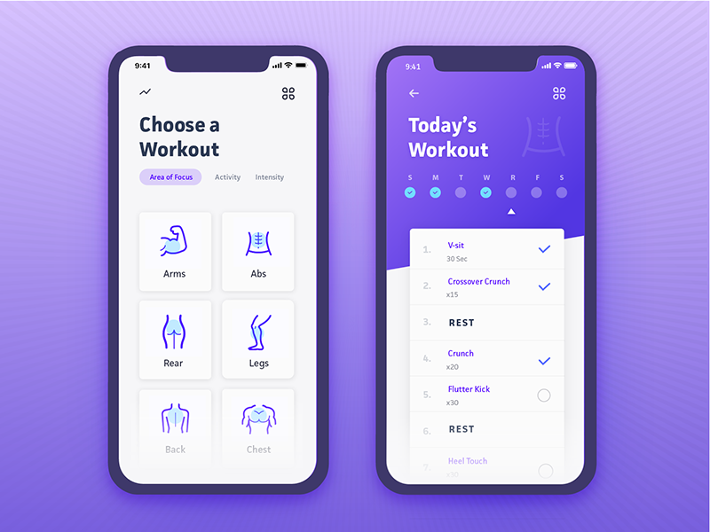 Daily Ui Challenge 041 - Workout Tracker vx gradient purple mobile app exercise workout 041 challenge ui daily daily ui
