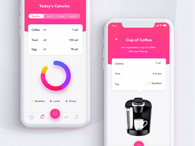 The Daily Hack 2 - Automated Calorie Counter App automation food app mobile daily ui daily app calories calorie counter gradient tech ui ux