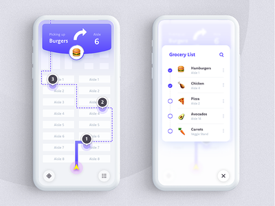 The Daily Hack 7 - Automated In-Store Grocery List Map map purple gradient mobile app ux mobile app list grocery list automation ui daily